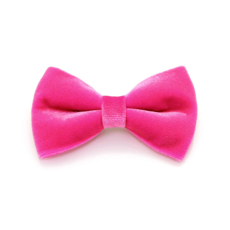 "Velvet Bow Tie Cat Collar Set - ""Azalea"" - Magenta Pink Velvet Cat Collar w/ Matching Bowtie (Removable) / Wedding"