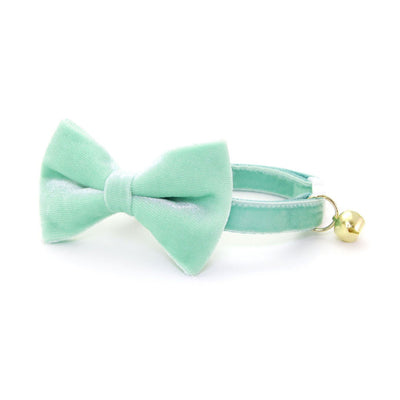 "Velvet Bow Tie Cat Collar Set - ""Mint"" - Robin's Egg Velvet Cat Collar w/ Matching Bowtie (Removable) / Wedding"