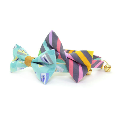 "Bow Tie Cat Collar Set - ""Rainbow Sorbet"" - 80s Retro / Pastel Stripe Cat Collar w/ Matching Bowtie (Removable)"