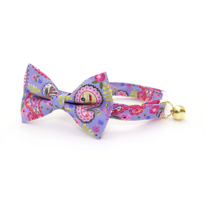 "Bow Tie Cat Collar Set - ""Paisley Girl"" - Periwinkle Purple Floral Cat Collar w/ Matching Bowtie (Removable)"