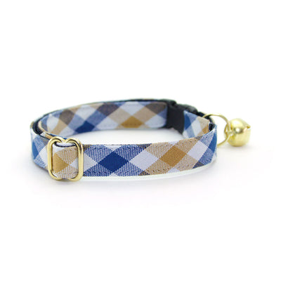 "Bow Tie Cat Collar Set - ""Butterscotch Blue"" - Plaid Cat Collar w/ Matching Bowtie (Removable)"