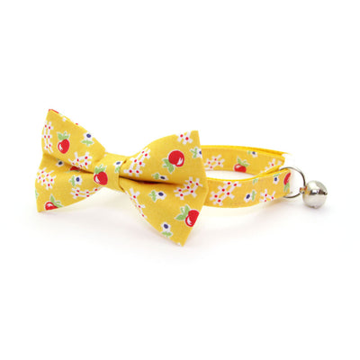 "Cat Collar - ""Apple Orchard"" - Yellow & Red Floral Collar - Breakaway Buckle or Non-Breakaway / Cat, Kitten + Small Dog Sizes"