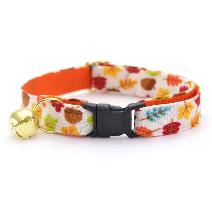 "Cat Collar - ""Autumn Leaves"" - Fall Leaves & Acorns Cat Collar - Breakaway Buckle or Non-Breakaway / Cat, Kitten + Small Dog Sizes"