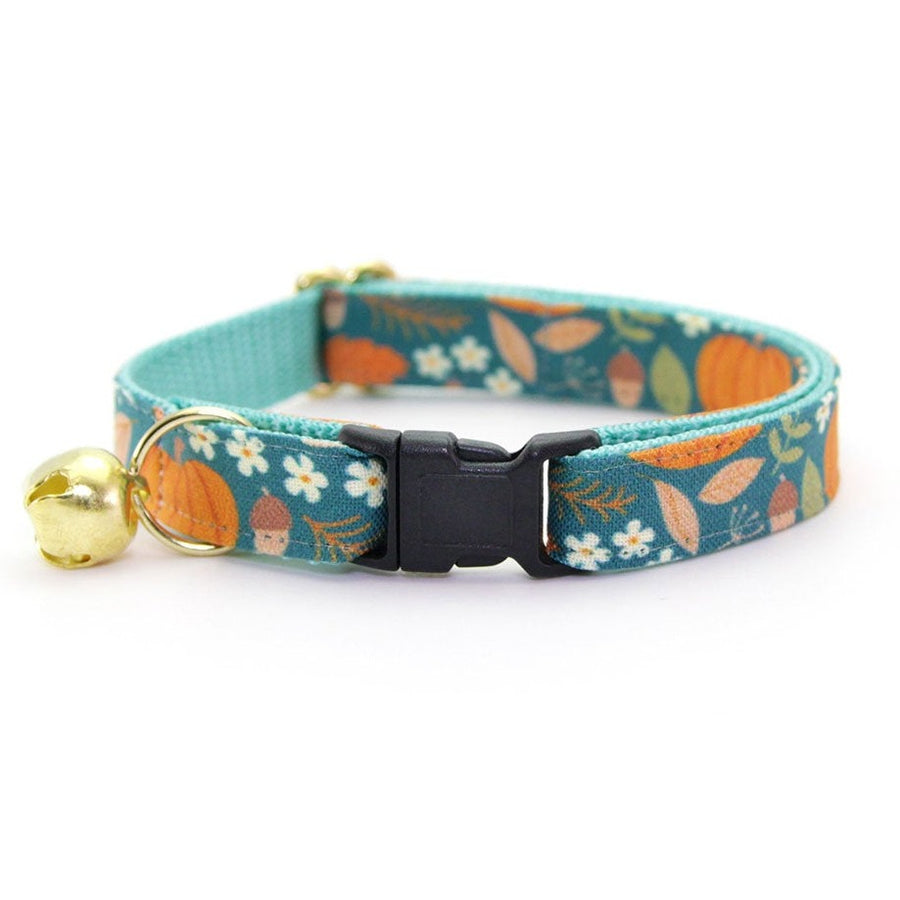 "Fall Cat Collar - ""Pumpkin Patch"" - Harvest Teal Cat Collar - Breakaway Buckle or Non-Breakaway / Cat, Kitten + Small Dog Sizes"
