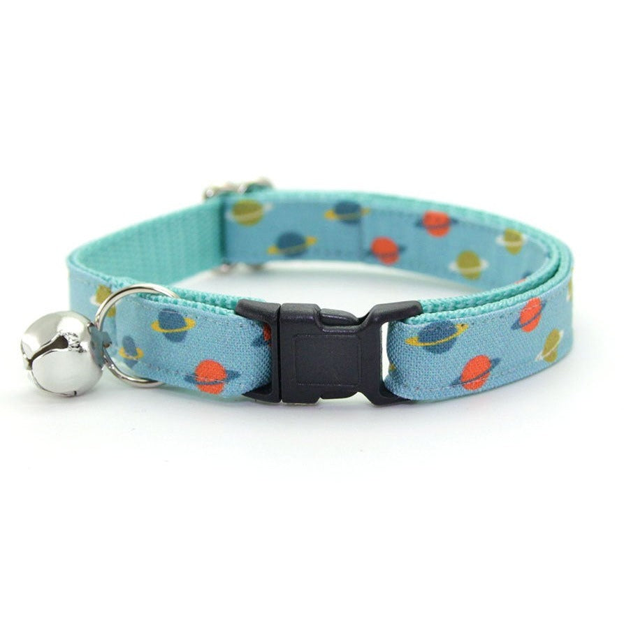 "Space Cat Collar - ""Orbital"" - Saturn Rings on Aqua Blue Cat Collar / Planets / NASA - Breakaway Buckle or Non-Breakaway / Cat, Kitten + Small Dog Sizes"