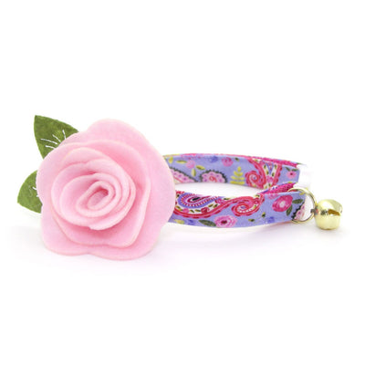 "Floral Cat Collar - ""Paisley Girl"" - Periwinkle Purple & Pink Cat Collar - Breakaway Buckle or Non-Breakaway / Cat, Kitten + Small Dog Sizes"
