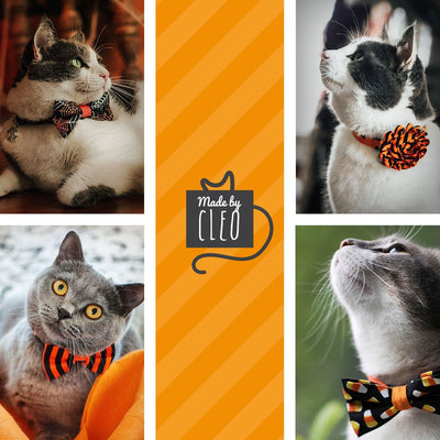 "Halloween Cat Collar - ""Here for the Boos"" - Ghosts, Pumpkins & Skulls Cat Collar - Breakaway Buckle or Non-Breakaway / Cat, Kitten + Small Dog Sizes"