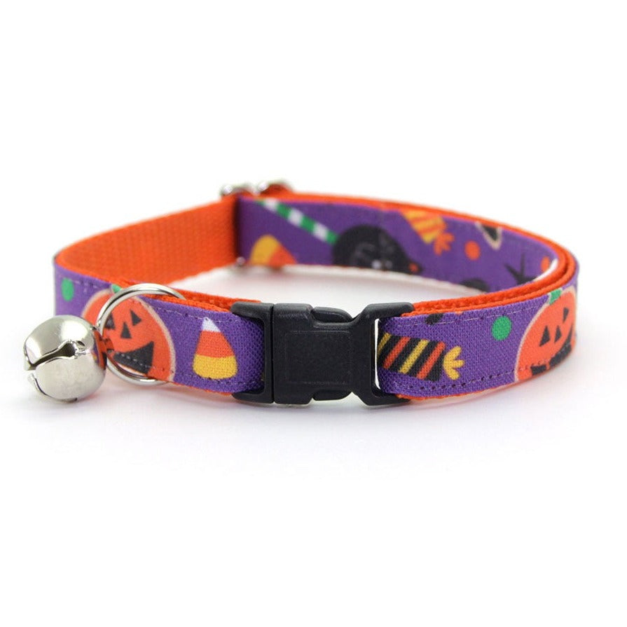"Halloween Cat Collar - ""Witch's Brew"" - Candy, Witch Hats & Pumpkins Cat Collar - Breakaway Buckle or Non-Breakaway / Cat, Kitten + Small Dog Sizes"