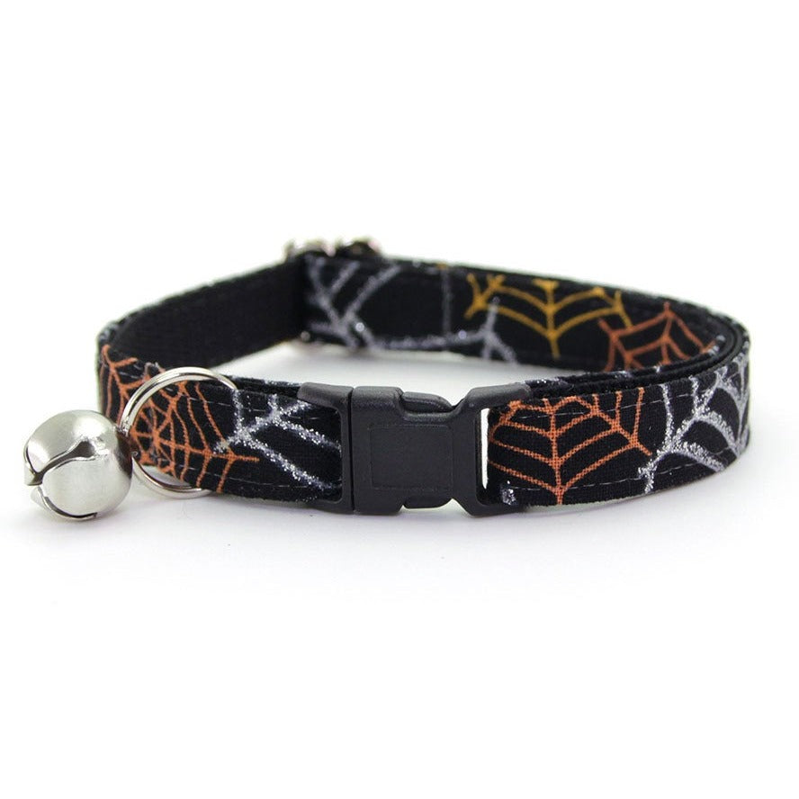 "Halloween Cat Collar - ""Spiderwebs"" - Silver, Orange & Gold Spider Webs on Black Cat Collar - Breakaway Buckle or Non-Breakaway / Cat, Kitten + Small Dog Sizes"