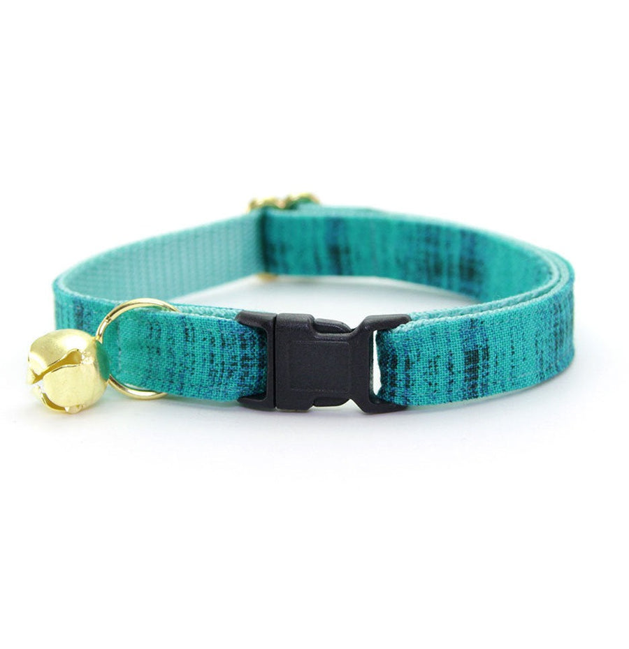 "Cat Collar - ""Vintage Haze - Turquoise"" - Vibrant Teal Textured Cat Collar - Breakaway Buckle or Non-Breakaway / Cat, Kitten + Small Dog Sizes"