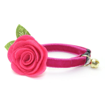 "Velvet Cat Collar - ""Azalea"" - Magenta Pink Velvet - Breakaway Buckle or Non-Breakaway / Cat, Kitten + Small Dog Sizes"