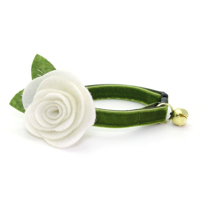 "Velvet Cat Collar - ""Leaf Green"" - Vibrant Olive Green Velvet - Breakaway Buckle or Non-Breakaway / Cat, Kitten + Small Dog Sizes"