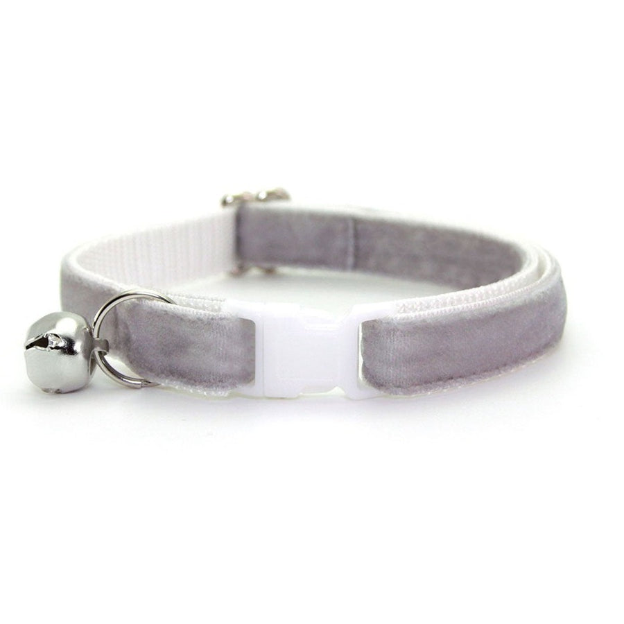 "Velvet Cat Collar - ""Pale Gray"" - Light Grey Velvet - Breakaway Buckle or Non-Breakaway / Cat, Kitten + Small Dog Sizes"