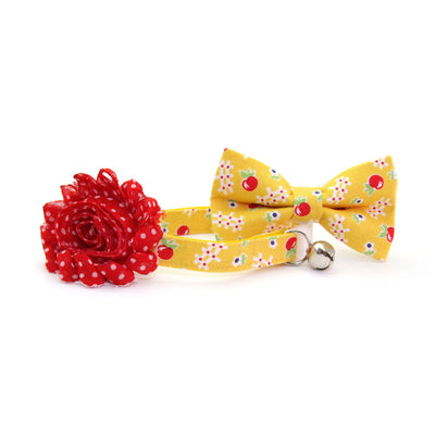 "Pet Bow Tie - ""Apple Orchard"" - Yellow & Red Floral Bowtie / Fall Apple-picking / For Cats + Small Dogs / Removable (One Size)"