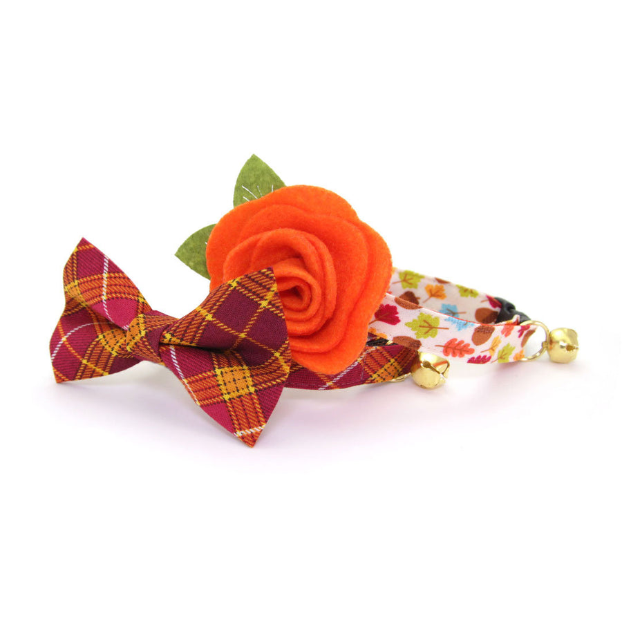 "Pet Bow Tie - ""Brandywine"" - Burgundy & Gold Plaid Bowtie / Fall + Thanksgiving / For Cats + Small Dogs / Removable (One Size)"