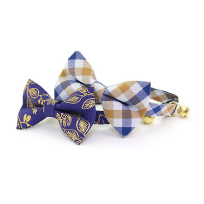"Pet Bow Tie - ""Butterscotch Blue"" - Navy & Toffee Plaid Bowtie / For Cats + Small Dogs / Removable (One Size)"