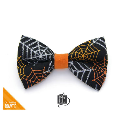 "Halloween Pet Bow Tie - ""Spiderwebs"" - Silver, Orange & Gold Spider Webs on Black Bowtie / For Cats + Small Dogs / Removable (One Size)"