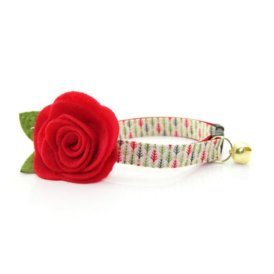 "Cat Collar + Flower Set - ""Vintage Christmas Trees"" - Bottlebrush Tree Cat Collar w/ Scarlet Felt Flower (Detachable)"