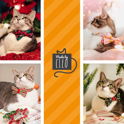 "Holiday Bow Tie Cat Collar Set - ""Gingerbread Red"" - Red Christmas Cat Collar w/ Matching Bow Tie (Removable)"