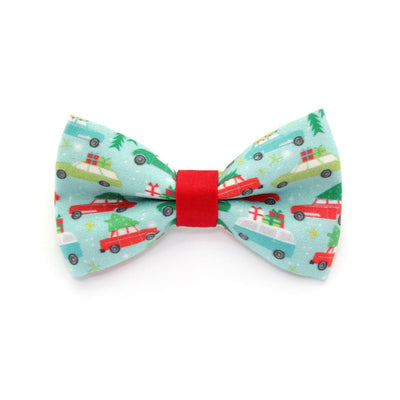 "Bow Tie Cat Collar Set - ""Christmas Vacation"" - Trees on Cars Cat Collar w/ Matching Bowtie (Removable)"
