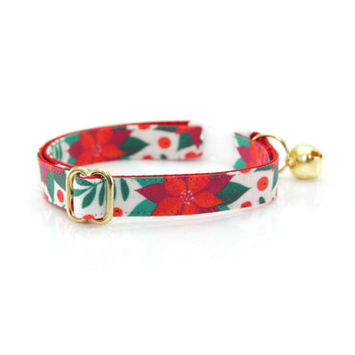 "Bow Tie Cat Collar Set - ""Poinsettia & Berry"" - Christmas Botanical Cat Collar w/ Matching Bowtie (Removable)"