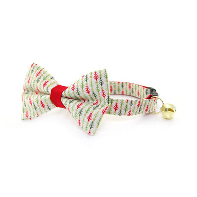 "Bow Tie Cat Collar Set - ""Vintage Christmas Trees"" - Bottlebrush Tree Cat Collar w/ Matching Bowtie (Removable)"
