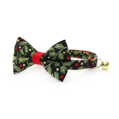 "Bow Tie Cat Collar Set - ""Winter Garland - Night"" - Black Mistletoe & Berry Holiday Cat Collar w/ Matching Bowtie (Removable)"