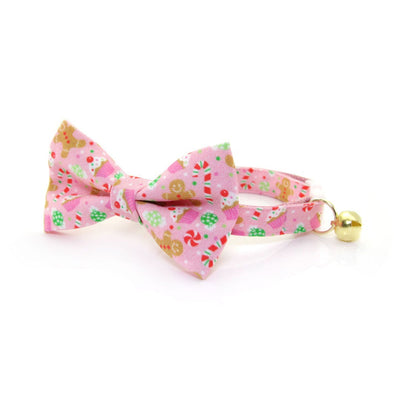 "Bow Tie Cat Collar Set - ""Sugar & Spice"" - Pink Gingerbread, Peppermints & Cupcakes Cat Collar w/ Matching Bowtie (Removable)"