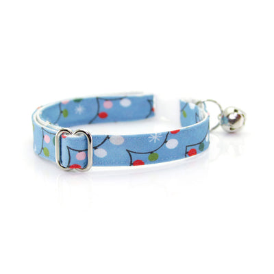 "Bow Tie Cat Collar Set - ""String Lights"" - Blue Christmas Lights Cat Collar w/ Matching Bowtie (Removable)"