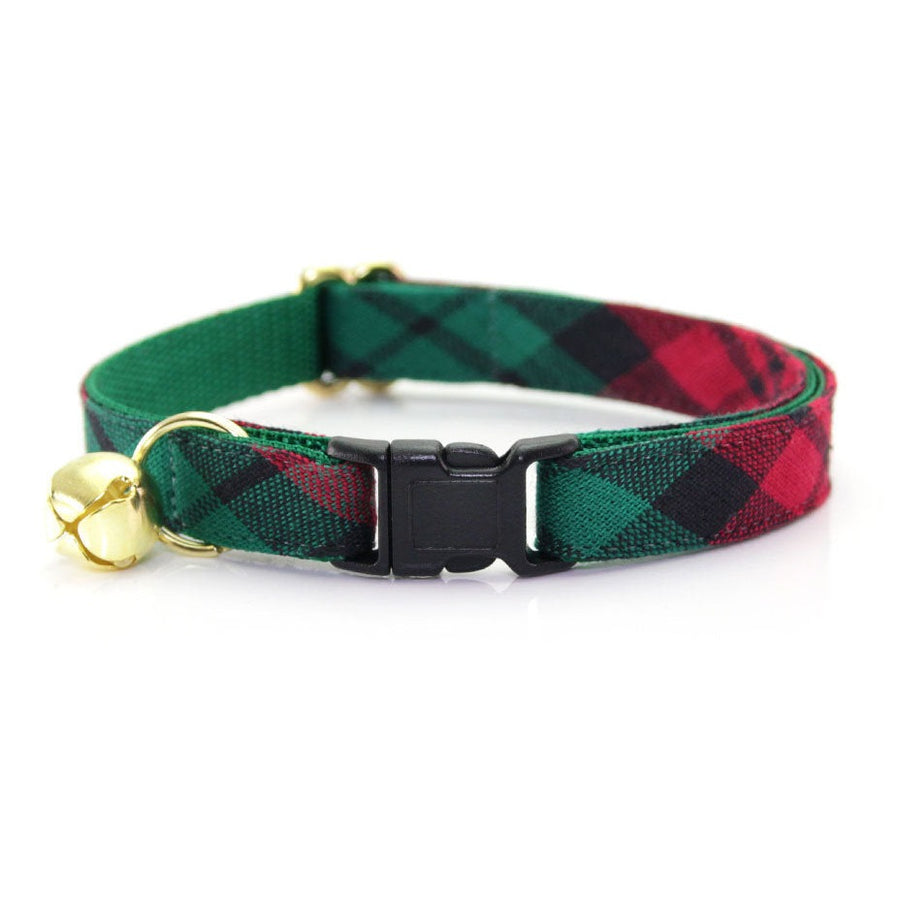 "Holiday Cat Collar - ""Fireside"" - Red & Green Plaid Cat Collar - Breakaway Buckle or Non-Breakaway / Cat, Kitten + Small Dog Sizes"