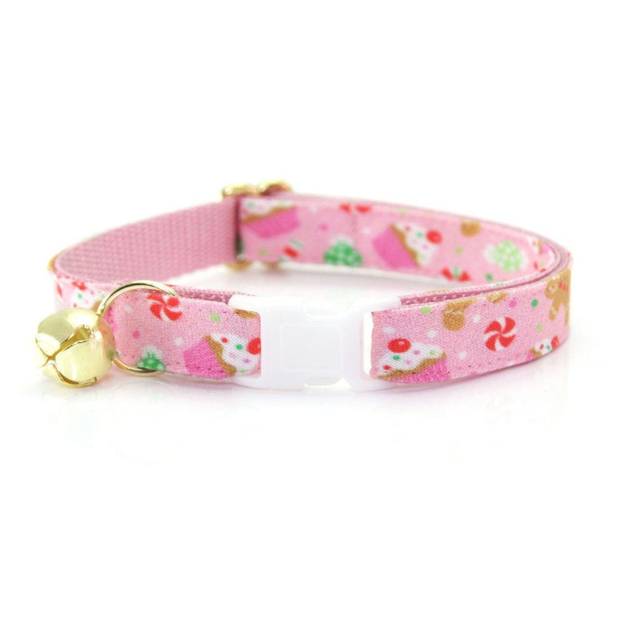 "Holiday Cat Collar - ""Sugar & Spice"" - Pink Gingerbread Cat Collar - Breakaway Buckle or Non-Breakaway / Cat, Kitten + Small Dog Sizes"