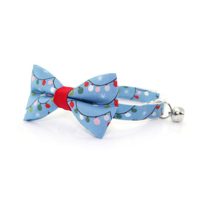 "Holiday Cat Collar - ""String Lights"" - Blue Christmas Lights Cat Collar - Breakaway Buckle or Non-Breakaway / Cat, Kitten + Small Dog Sizes"