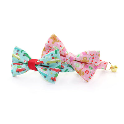 "Holiday Pet Bow Tie - ""Sugar & Spice"" - Pink Gingerbread, Peppermints & Cupcakes Bowtie for Pet Collar / For Cats + Small Dogs / Removable (One Size)"