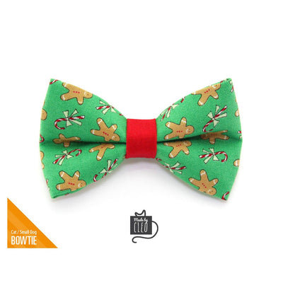 "Christmas Pet Bow Tie - ""Gingerbread Green"" - Holiday Cookie Bowtie for Pet Collar / For Cats + Small Dogs / Removable (One Size)"