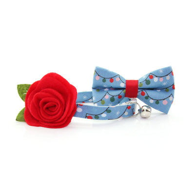 "Holiday Cat Bow Tie - ""String Lights"" - Blue Christmas Lights Bowtie for Pet Collar / For Cats + Small Dogs / Removable (One Size)"