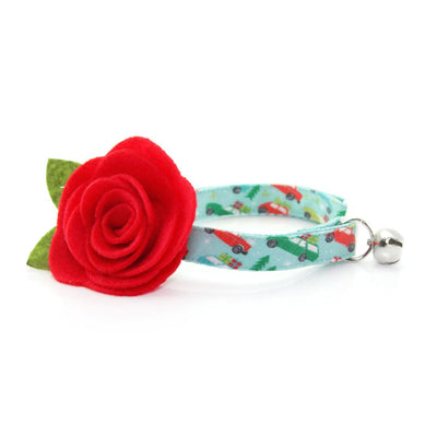 "Cat Collar + Flower Set - ""Christmas Vacation"" - Holiday Trees on Cars Mint Cat Collar w/ Scarlet Felt Flower (Detachable)"
