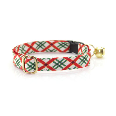 "Cat Collar + Flower Set - ""Holiday Road"" - Red & Green Christmas Plaid Cat Collar w/ Scarlet Felt Flower (Detachable)"