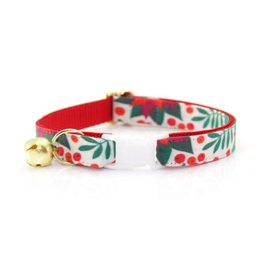 "Cat Collar + Flower Set - ""Poinsettia & Berry"" - Holiday Floral Cat Collar w/ Scarlet Felt Flower (Detachable)"