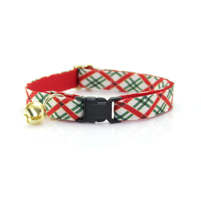 "Bow Tie Cat Collar Set - ""Holiday Road"" - Red & Green Christmas Plaid Cat Collar w/ Matching Bowtie (Removable)"