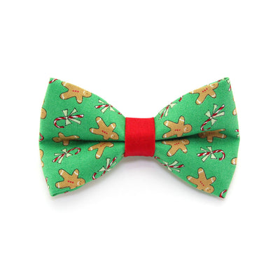 "Holiday Bow Tie Cat Collar Set - ""Gingerbread Green"" - Red Xmas Cat Collar w/ ""Gingerbread Green"" Bow Tie (Removable)"