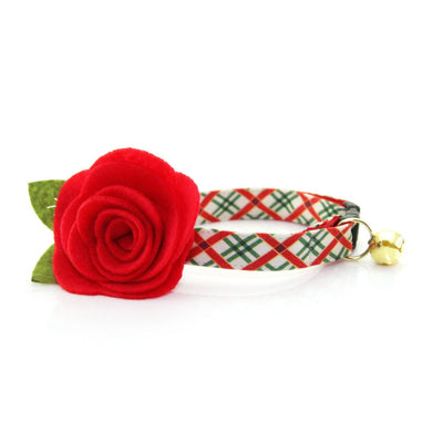 "Christmas Cat Collar - ""Holiday Road"" - Red & Green Plaid Cat Collar - Breakaway Buckle or Non-Breakaway / Cat, Kitten + Small Dog Sizes"