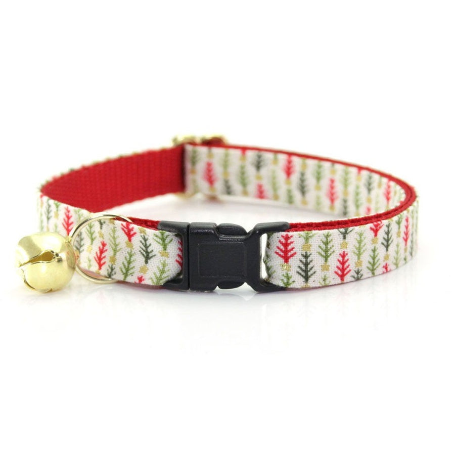 "Holiday Cat Collar - ""Vintage Christmas Trees"" - Bottlebrush Tree Cat Collar - Breakaway Buckle or Non-Breakaway / Cat, Kitten + Small Dog Sizes"