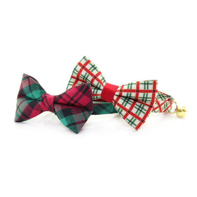 "Holiday Pet Bow Tie - ""Fireside"" - Red & Green Plaid Bowtie for Pet Collar / Christmas / For Cats + Small Dogs / Removable (One Size)"