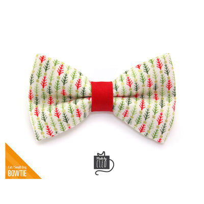 "Holiday Pet Bow Tie - ""Vintage Christmas Trees"" - Bottlebrush Tree Bowtie for Pet Collar / For Cats + Small Dogs / Removable (One Size)"