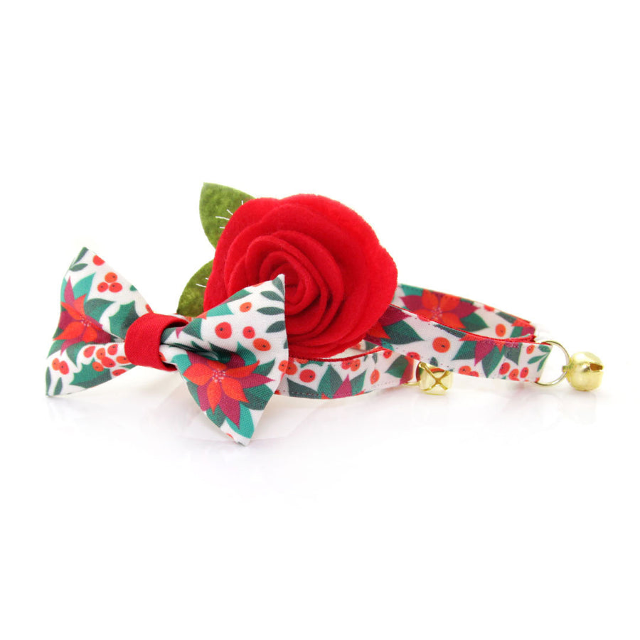 "Holiday Pet Bow Tie - ""Poinsettia & Berry"" - Christmas Flowers & Berries Bowtie for Pet Collar / For Cats + Small Dogs / Removable (One Size)"