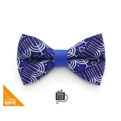 "Pet Bow Tie - ""Happy Hanukkah"" - Blue Menorah Bowtie for Pet Collar / Jewish, Chanukah, Star of David / For Cats + Small Dogs / Removable (One Size)"