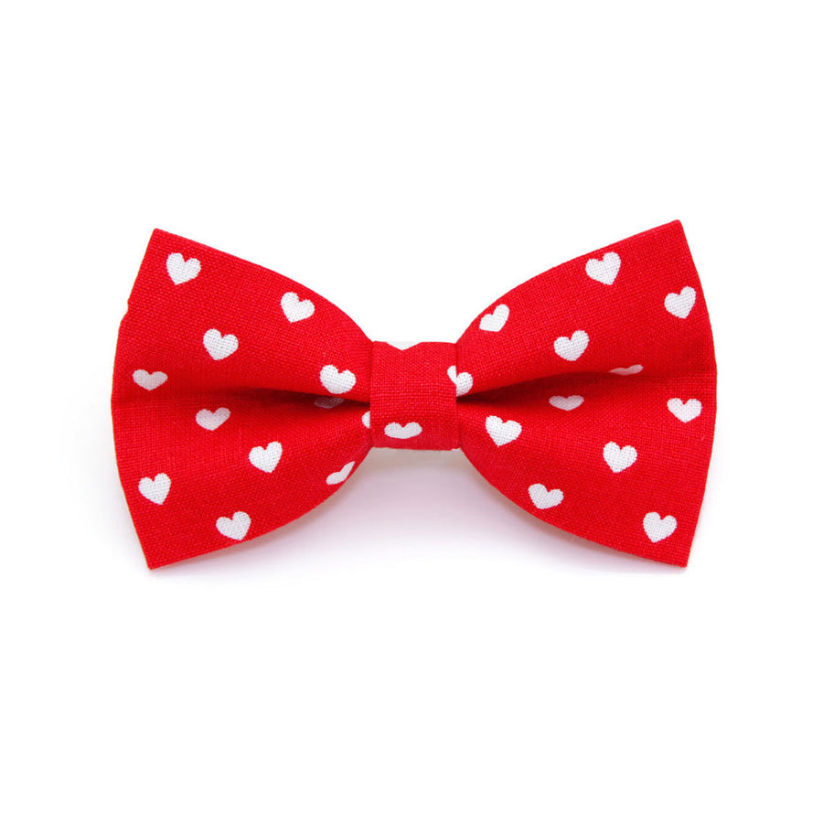 "Bow Tie Cat Collar Set - ""Love Song"" - Red Heart Cat Collar w/ Matching Bowtie (Removable) / Valentine's Day"