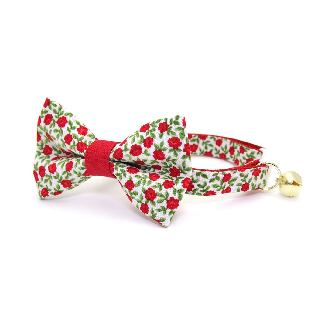 Cat Bow Tie Antique Rose Small Dog Bowtie Kitten Red Mini Roses Bow Tie for Cat Collar  Valentine/'s Day  Wedding  Cat Gift  Cat