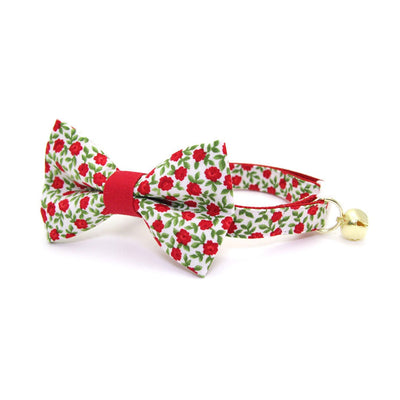 "Bow Tie Cat Collar Set - ""Antique Rose"" - Red Mini Roses Cat Collar w/ Matching Bowtie (Removable) / Valentine's Day"