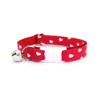"Cat Collar + Flower Set - ""Love Song"" - Red Heart Cat Collar w/ Scarlet Felt Flower (Detachable) / Valentine's Day"